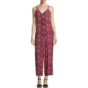 Free People Snake Print V-Neck Jumpsuit Size Small